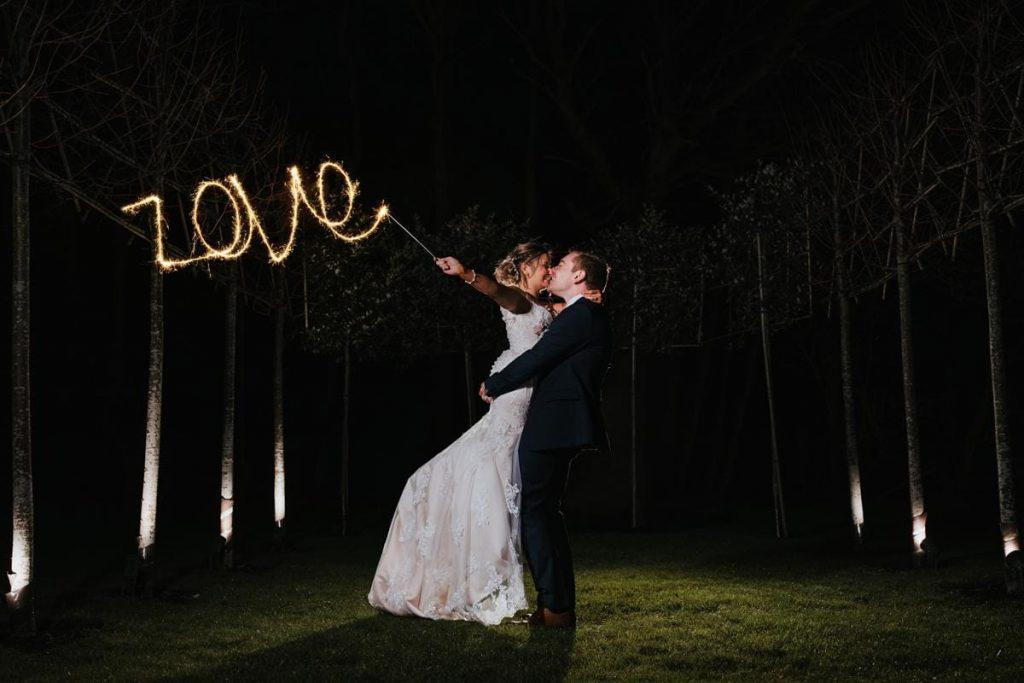 Sparkler wedding photograph at Hazel Gap Barn
