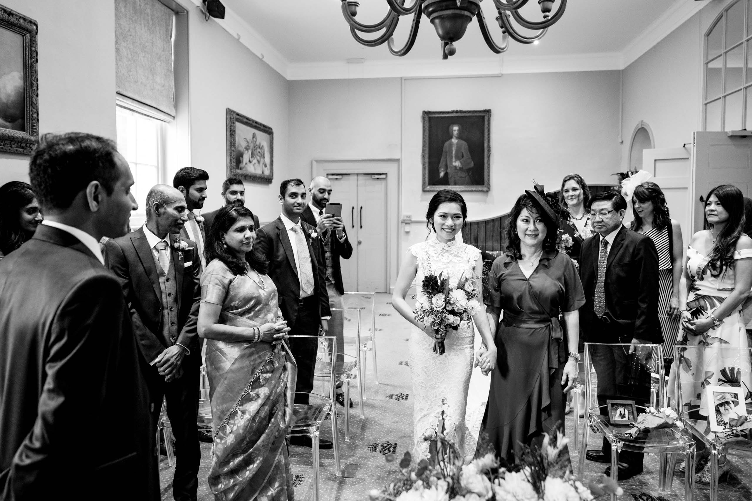 Bride walks down the aisle at her Chatsworth House wedding