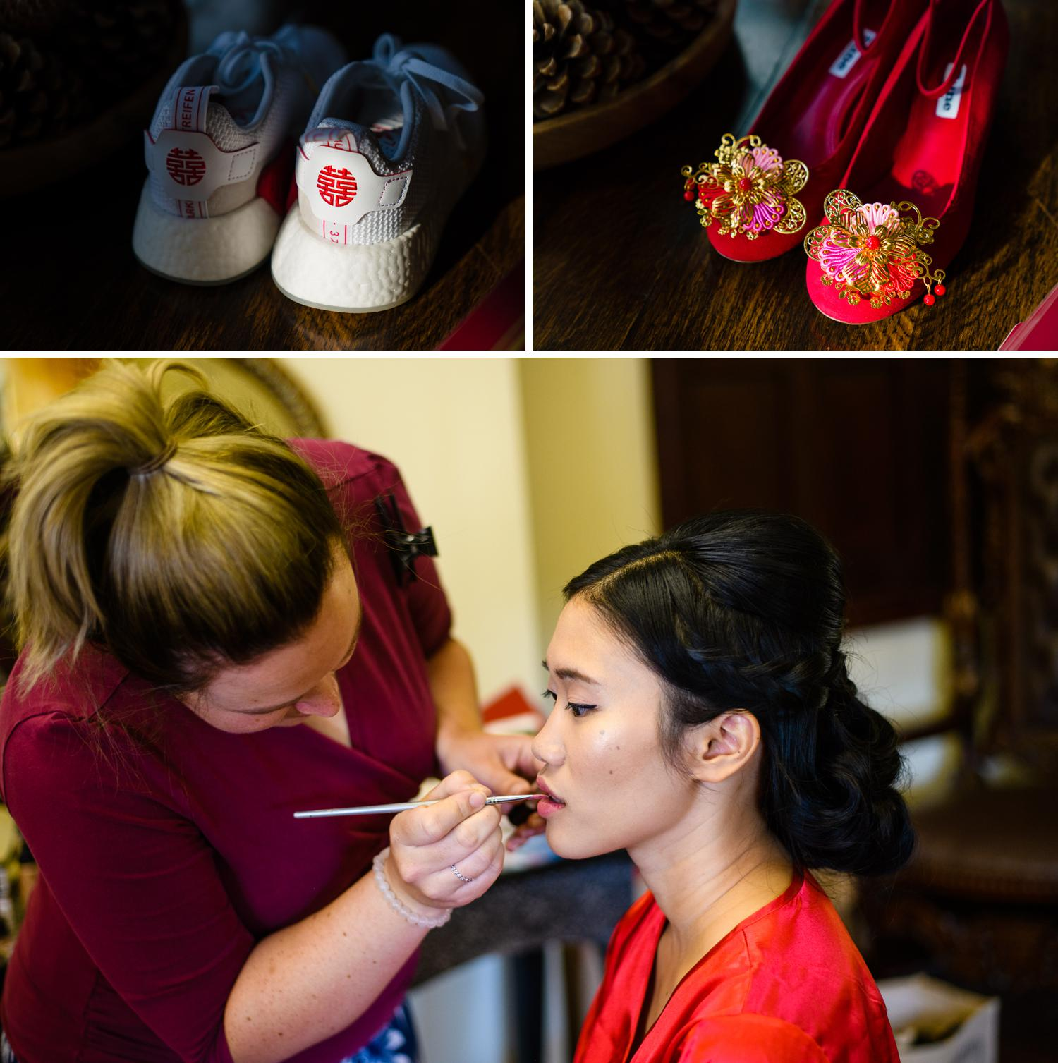 Bride getting ready for her wedding at Eriviat Hall