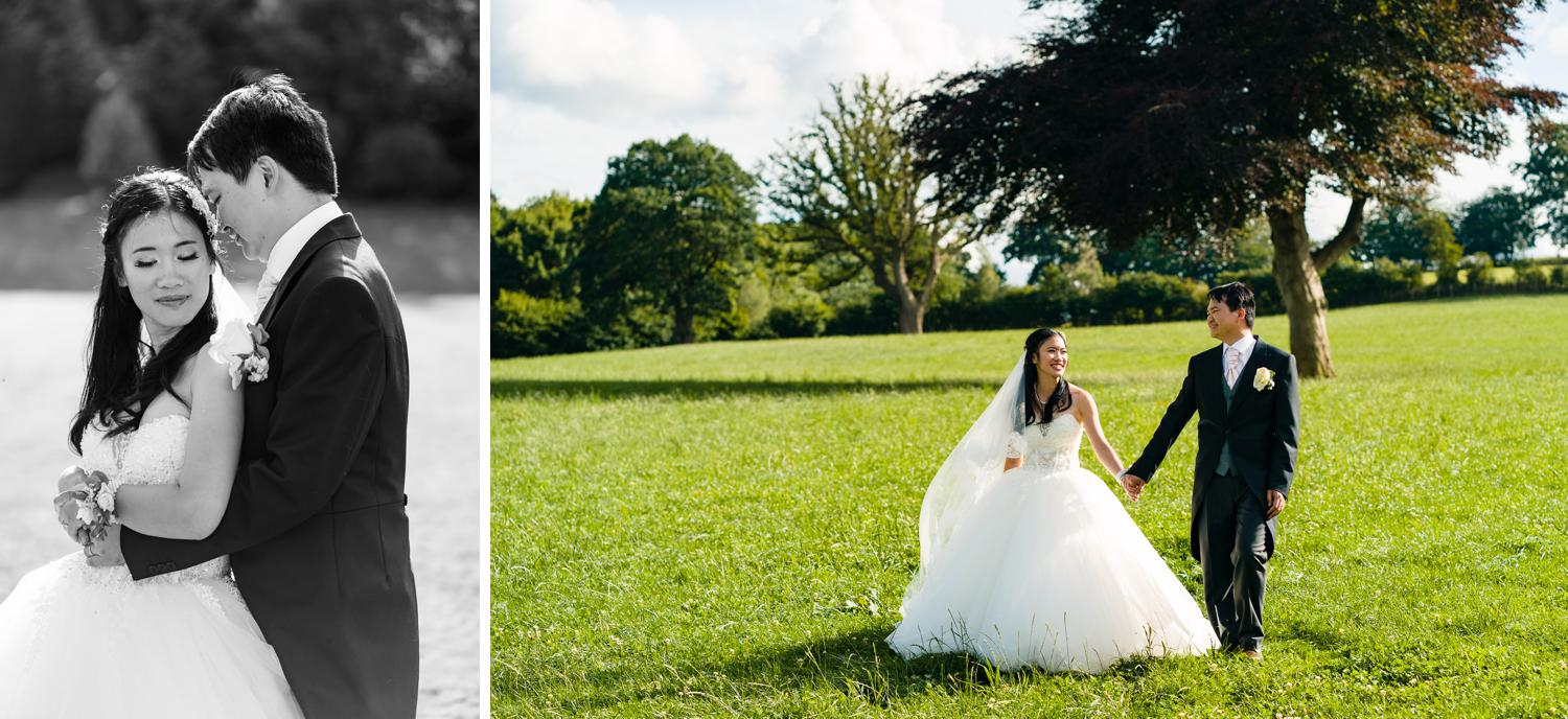 Early evening wedding photographs in the gardens of Eriviat Hall
