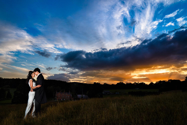 Sunset wedding photographs at Eriviat Hall