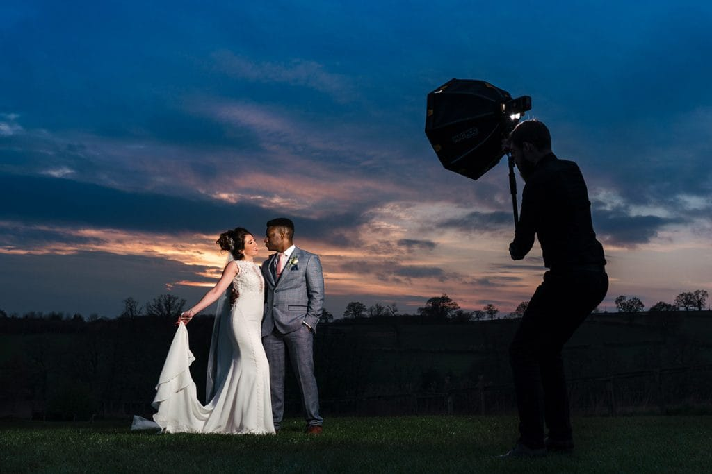 Wedding photograph of Godox AD200 in action with Magbox