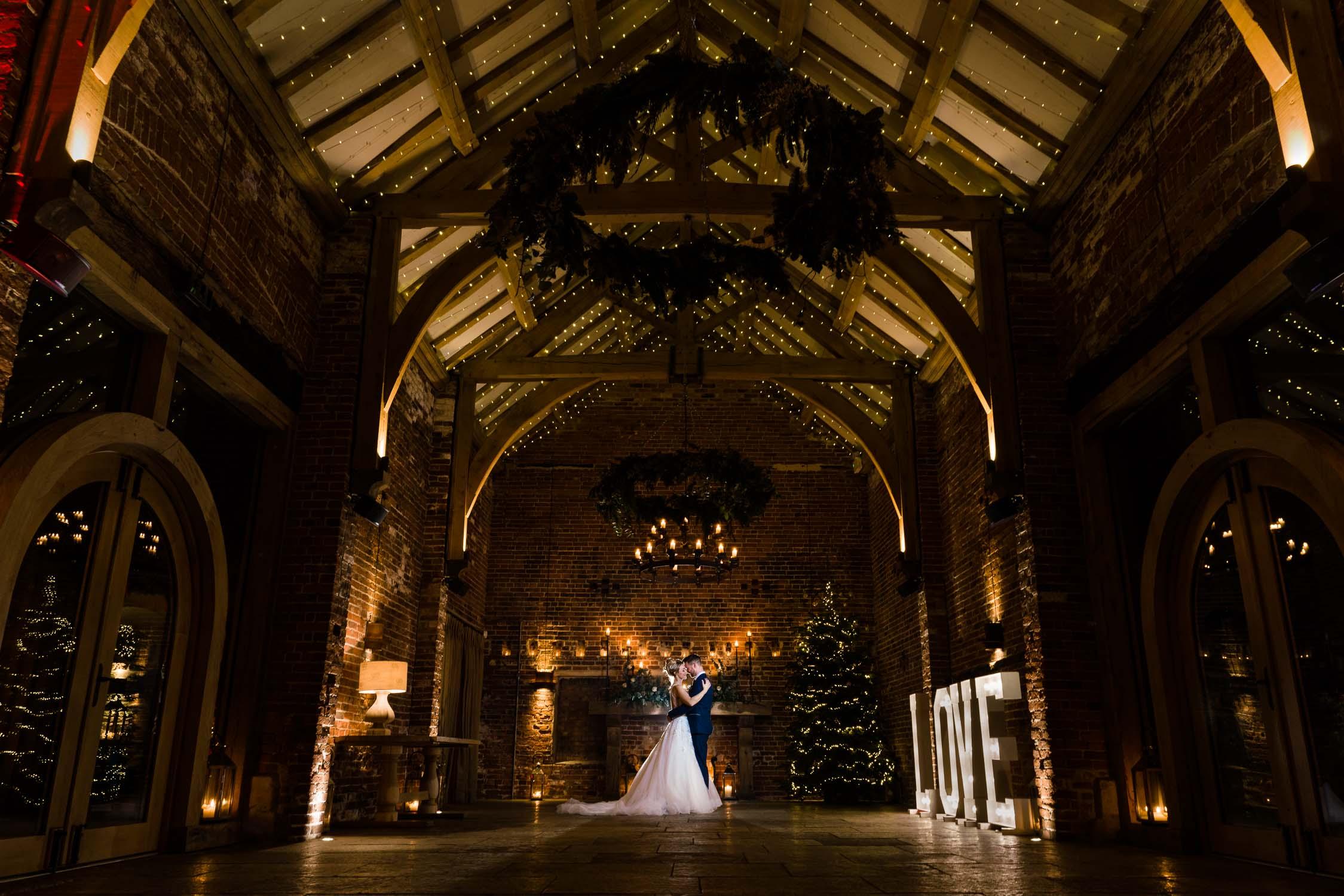 Wedding photo in Hazel Gap Barn room