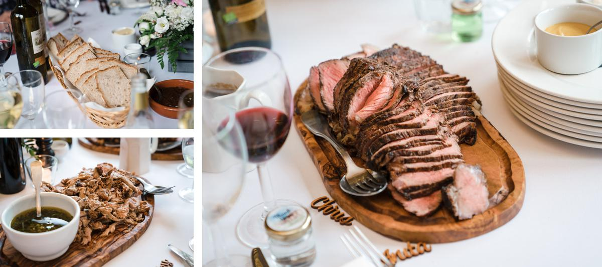 Photograph of the food which is served at a Hazel Gap Barn wedding
