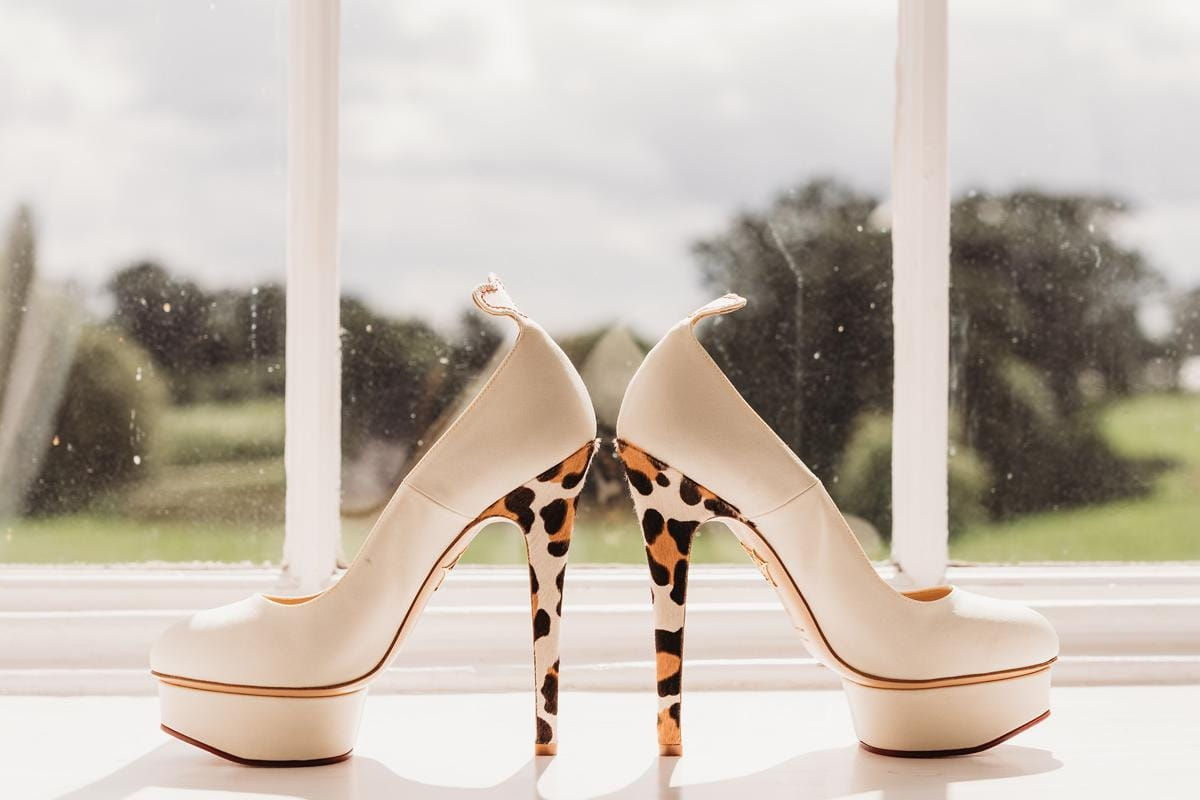 Bridal shoes on the windowsill of the bridal suite at Norwood Park