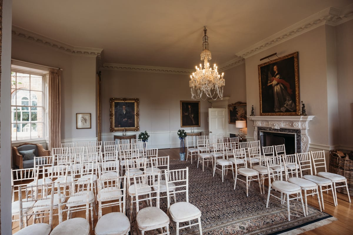 The Drawing Room at Norwood Park. Chairs all arranged for a wedding ceremony. Licensed for up to 75 guests