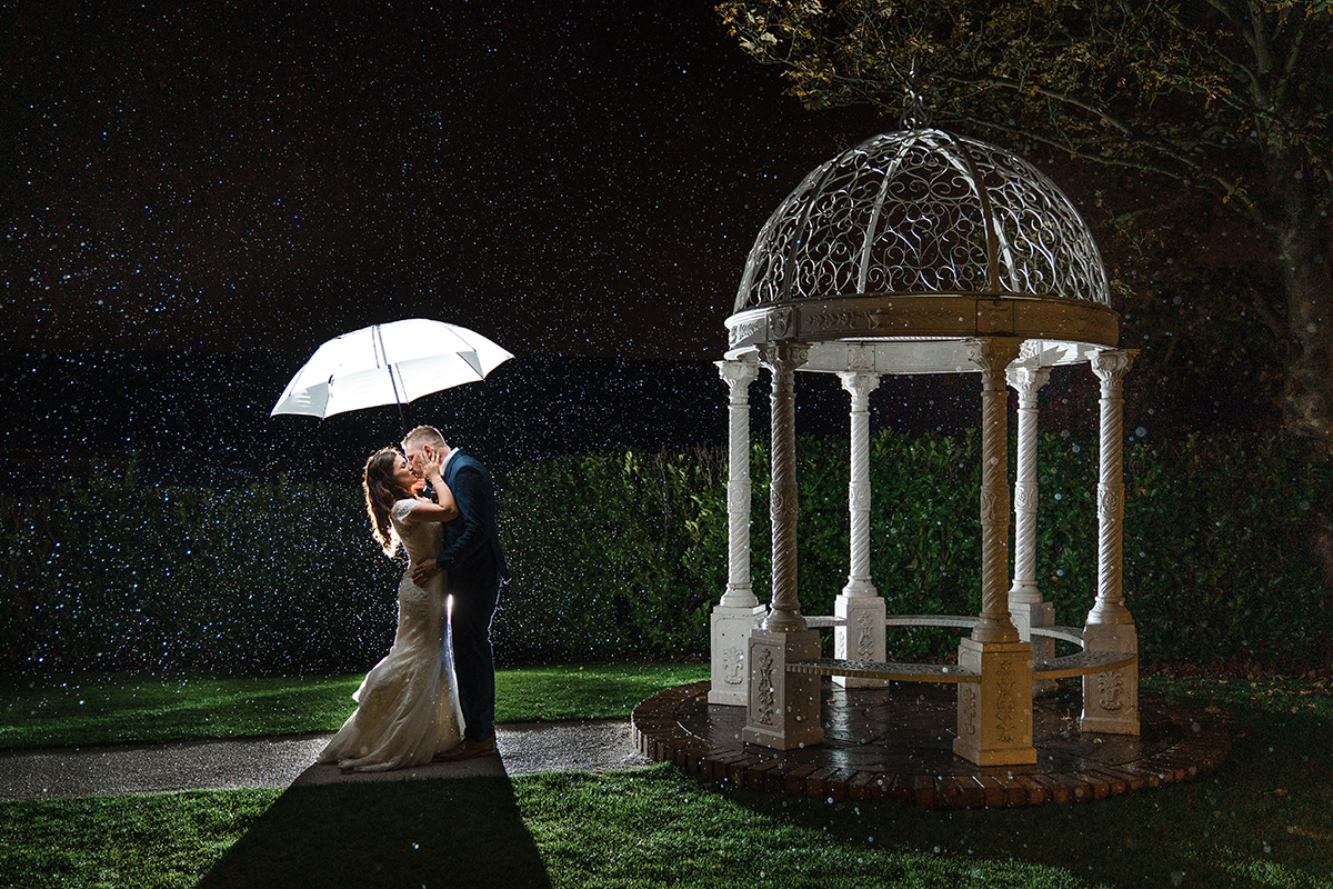 Rain photo from nottinghamshire of bride and groom kissing