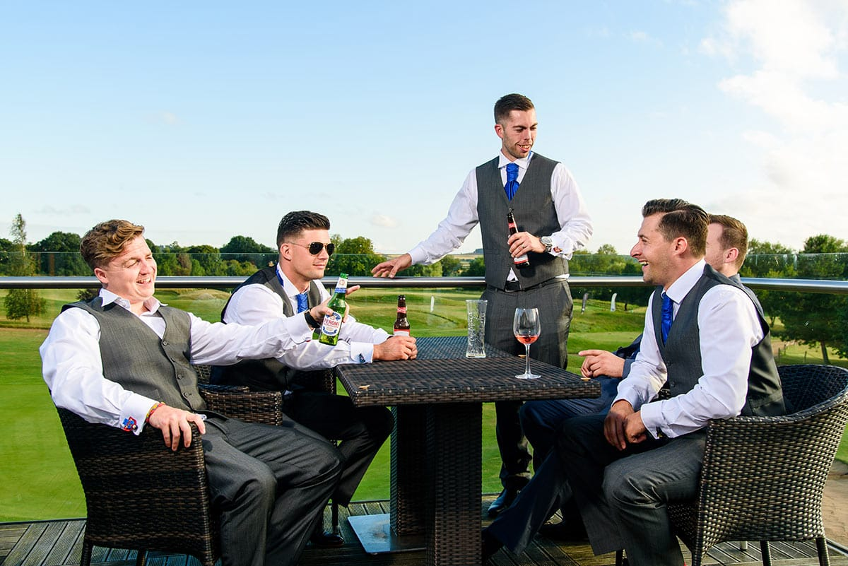The Balcony at the Nottinghamshire with Groom and his friends enjoying a drink