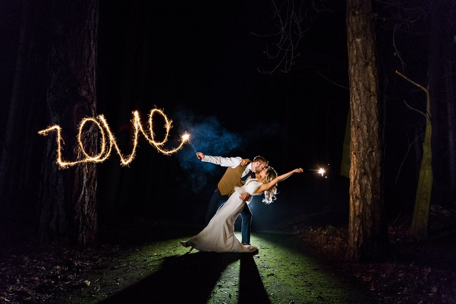 Winter wedding with sparklers