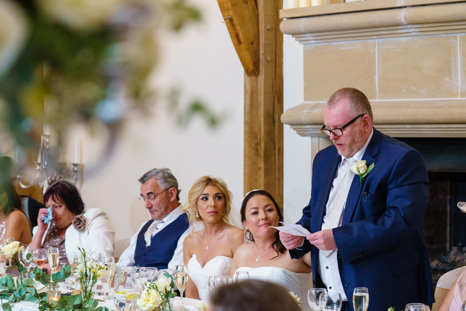 Father of the bride speech during wedding breakfast at Swancar Farm in Nottinghamshire