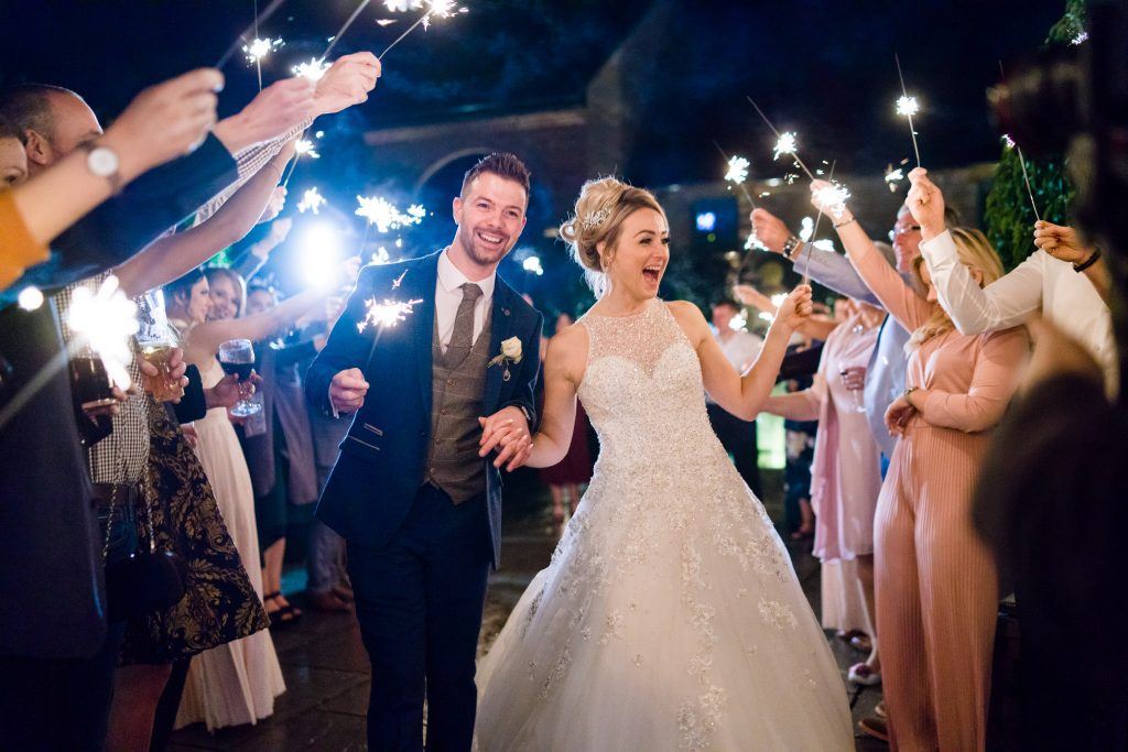 Sparklers wedding photo at Hazel Gap Barn in Nottingham