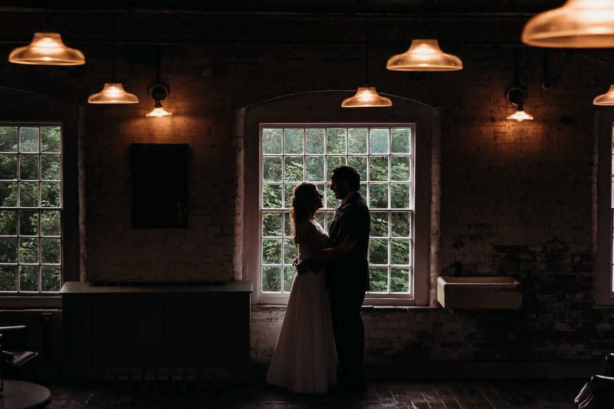 silouhette wedding photo taken at West Mill