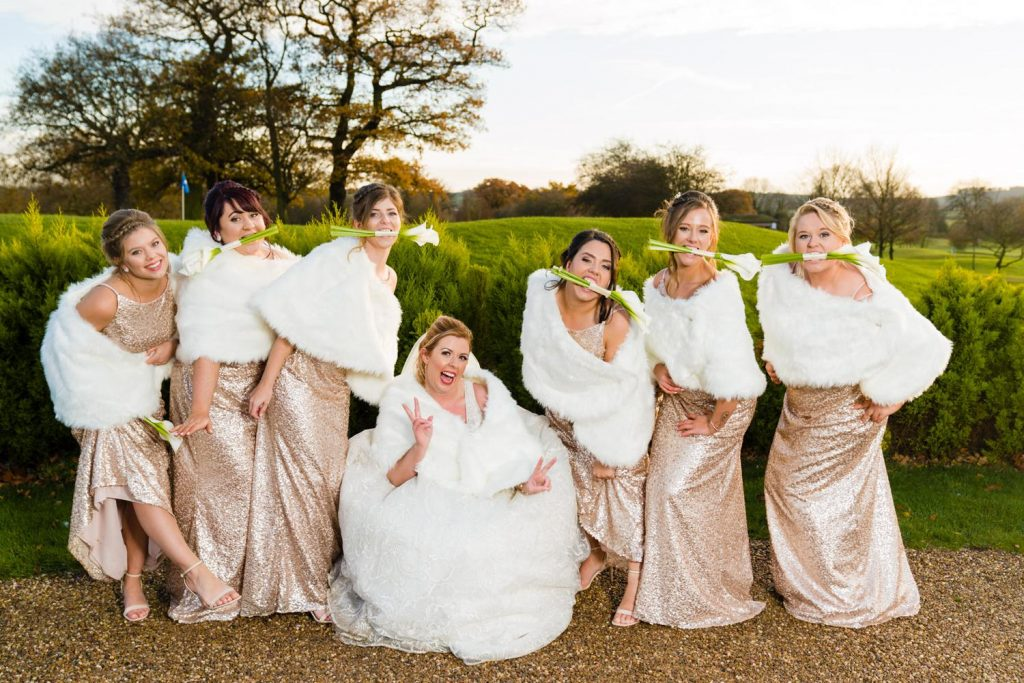 Winter wedding group photo at The Nottinghamshire