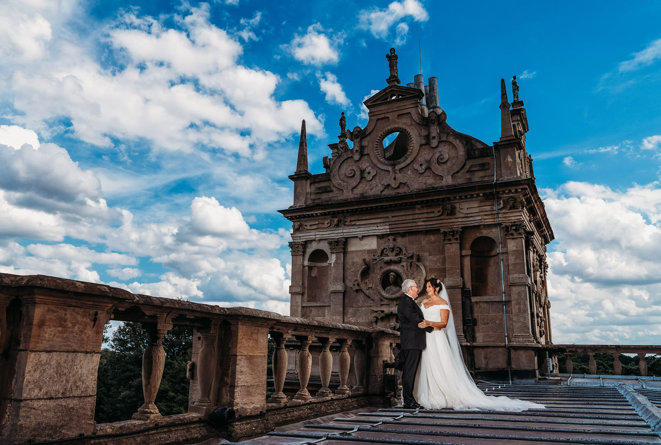 Wedding photo on the roof of Wollaton Hall