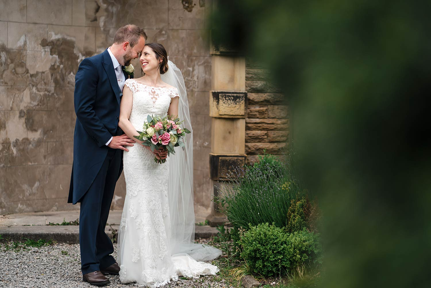 Bride and groom at Ringwood Hall in Chesterfield