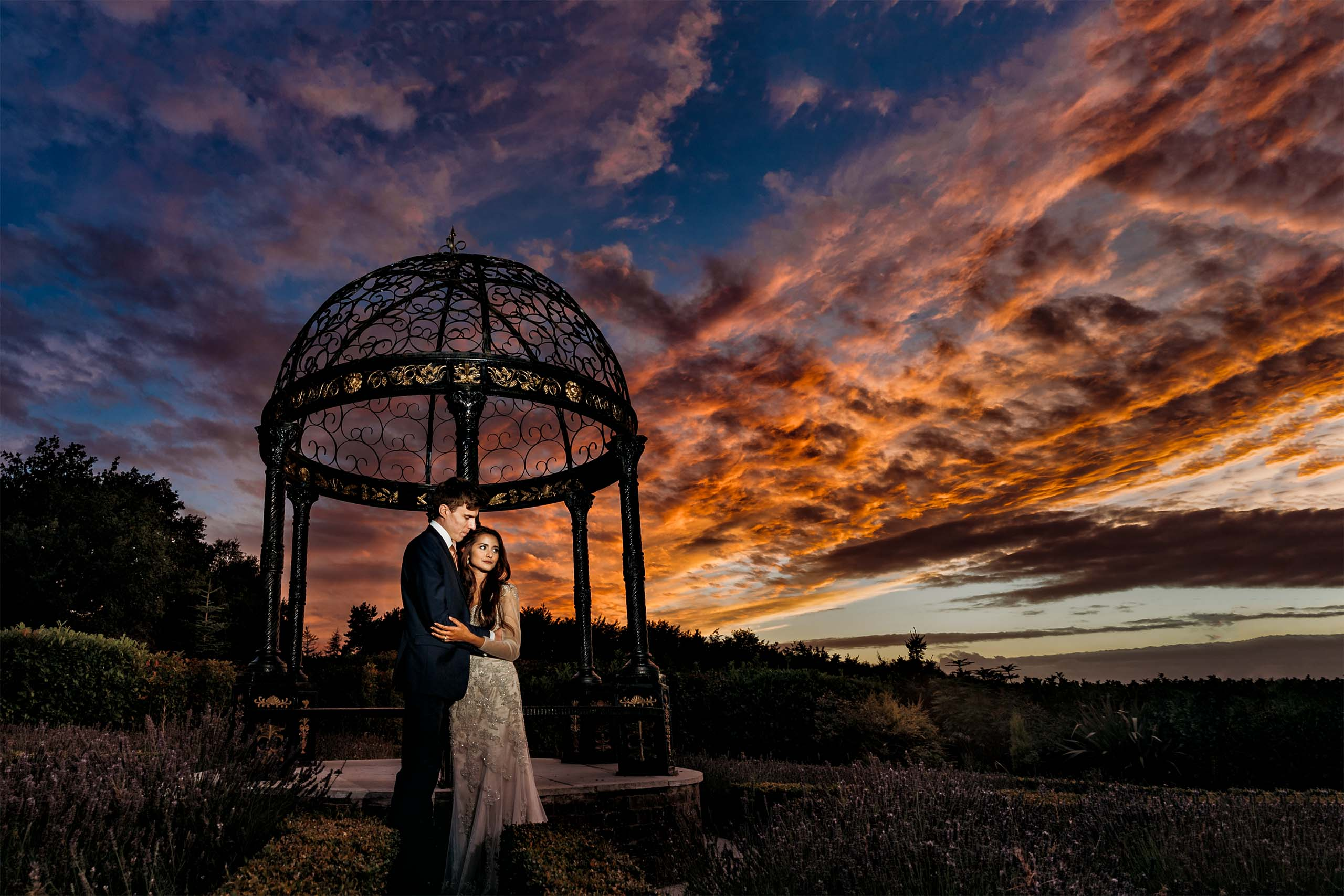 Goosedale Nottingham Wedding Photograph - Beautiful Sunset with bride & Groom