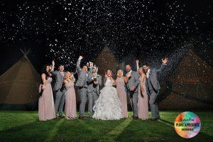 Wedding party photograph from Smallshaw Farm